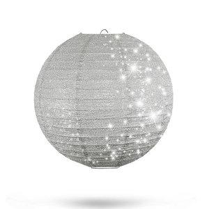 Lampion Silber mit Glitzer 25cm