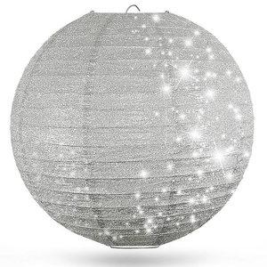 Lampion Silber mit Glitzer 80cm