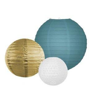 Lampion Set - Schieferblau & Gold Small - 10-teilig