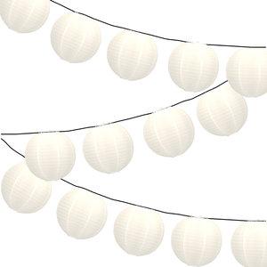 Lampionpakket - Nylon Wit - 20-delig - incl. LED string