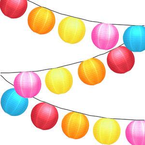 Lampionpakket - Nylon Rainbow - 20-delig - incl. LED string