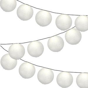 Lampionpakket - Wit - 20-delig - incl. LED string